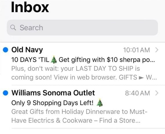 These subject lines and preheaters from Old Navy and Williams & Sonoma can entice procrastinating shoppers.