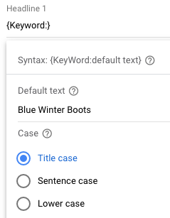 Add a {to the title or description and then insert your default keywords.