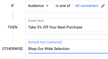 IF feature ads can present messages based on the audience, such previous converters.