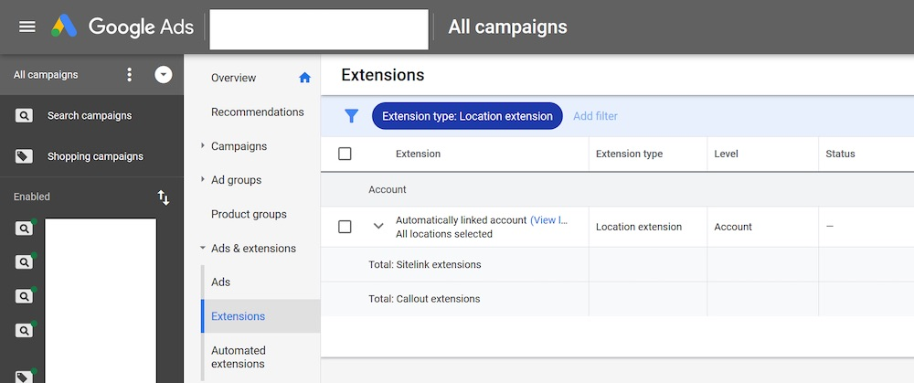 Log in to Google Ads to see if Google automatically added a location extension to your account.