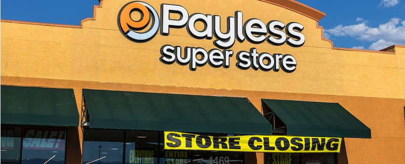 Retail store closures reached 9,302 in 2019. The biggest contributor was Payless ShoeSource, which declared bankruptcy and closed all of its 2,100 stores.