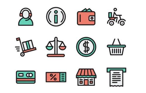 The Free Flat & Stroke eCommerce Icon Set
