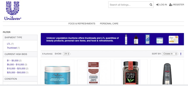 The new Unilever Liquidation Auctions uses the B-Stock platform. Sellers to date include leading consumer brands.