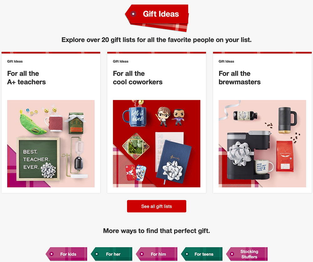 Target's simple holiday gift guide.