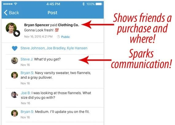 Venmo's social based payments can also serve as a marketing tool.