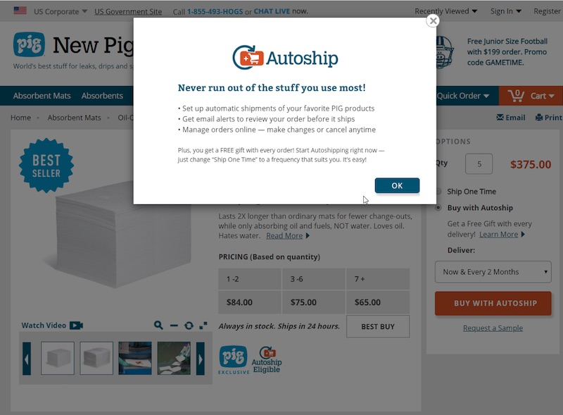 NewPig.com sends an email alert before shipping a subscription order, allowing customers to review and edit.