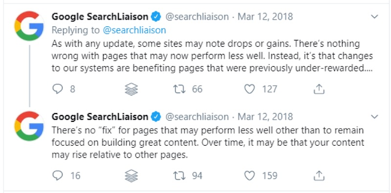 "Google's Danny Sullivan (@searchliaison) explained the March 2019 core update in a tweet, stating that it benefits ""pages that were previously under-rewarded…"""