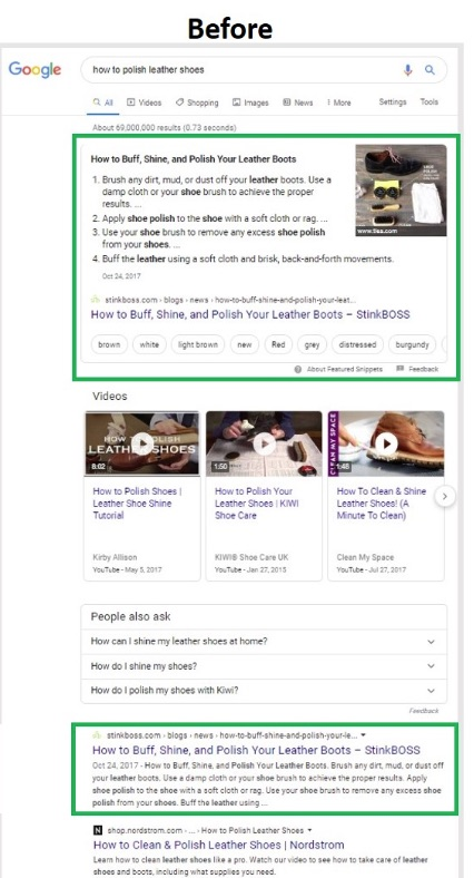 "Before the update, Stinkboss.com occupied the featured snippet for ""how to polish leather shoes"" as well as a traditional blue-link listing."