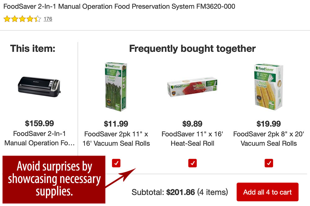 Target guides shoppers on necessary supplies for Foodsaver machines.