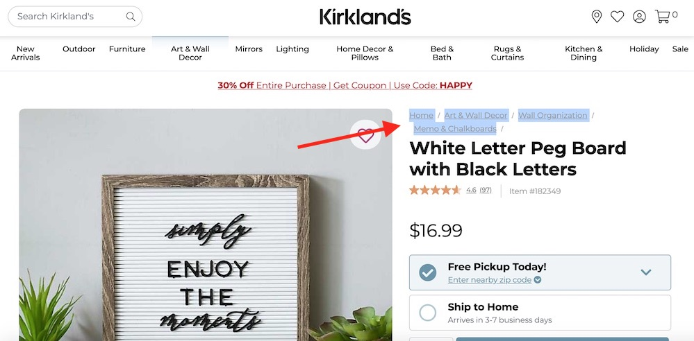 """Kirkland's does not use structured data for its breadcrumb, as confirmed by testing the """"White Letter Peg Board with Black Letters"""" product page."""