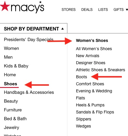"Macy's ""Shop by Department"" navigation is three levels deep, such as ""Shoes,"" ""Women's Shoes,"" and ""Boots."""