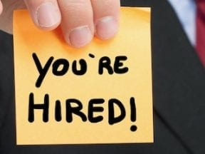 You're hired sticker
