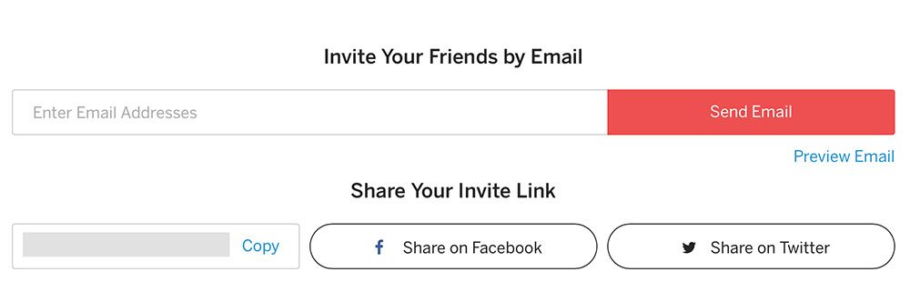 Social and email invite links.