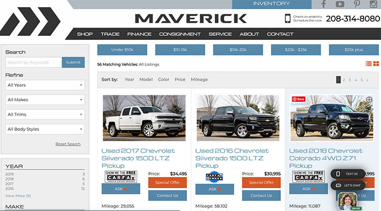 Automobile dealer websites already look like ecommerce sites in many ways, including having category pages and product detail pages (called vehicle detail pages in context).