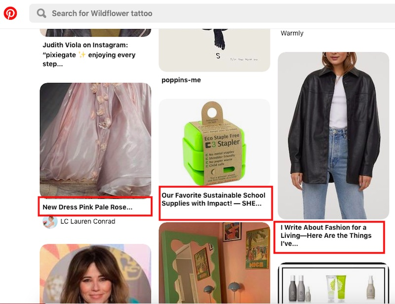 The three titles on this example feed are a mixture of brands, ecommerce offerings, and blog posts.