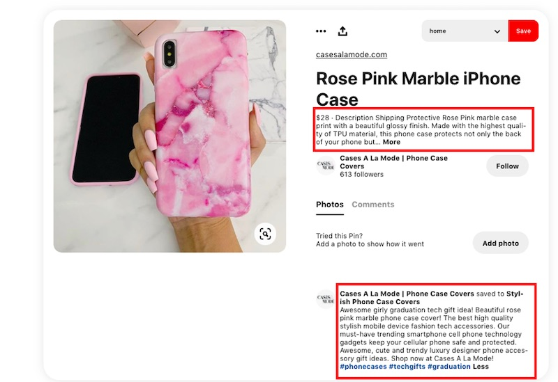 The text directly below the title is a description that Pinterest pulled from the seller's site.