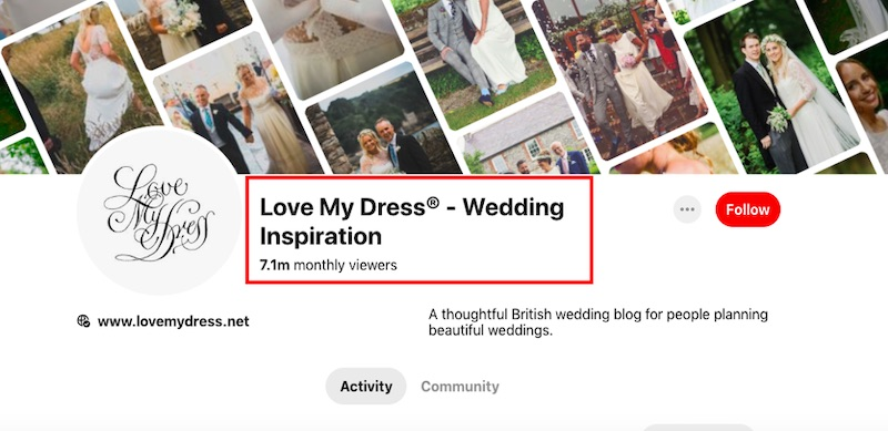 "Love My Dress's keyword phrase (""Wedding Inspiration"") is a popular search term and an accurate summary of the business."