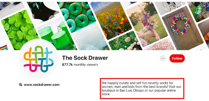 The description on The Sock Drawer's profile page describes the products and mission in one clear, concise sentence. The call-to-action is direct and to-the-point.