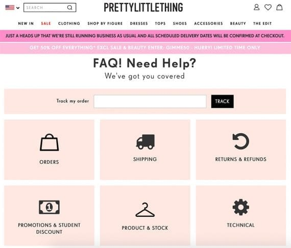 PrettyLittleThing designed FAQ section