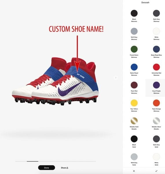 Nike customization of shoes