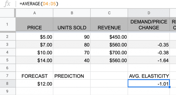 Using a Google Sheet or Excel spreadsheet, employ the AVERAGE function.