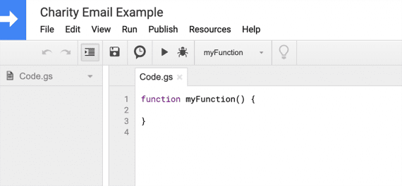 Use the script editor to write JavaScript functions to run on the spreadsheet.