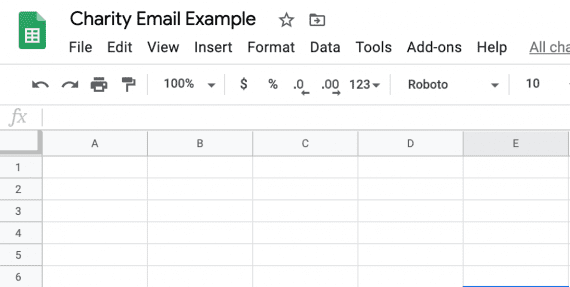 Start with a new Google Sheet.