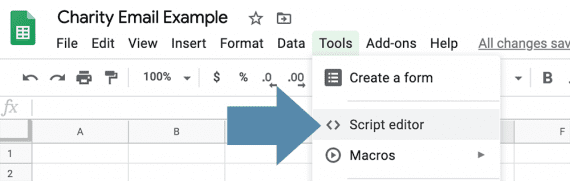 "Associate Google spreadsheets with custom scripts via the ""Script editor."""