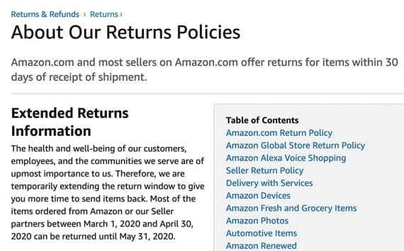 """The updated return policy from Amazon states, in part, """"...we are temporarily extending the return window to give you more time to send items back."""""""