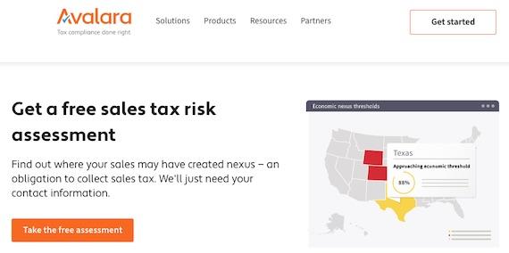 Avalara's sales tax assessment.