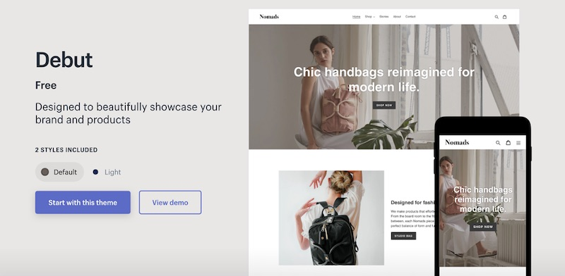 """Shopify's """"Buy Online, Pickup Curbside"""" tutorial suggests using the Debut theme."""