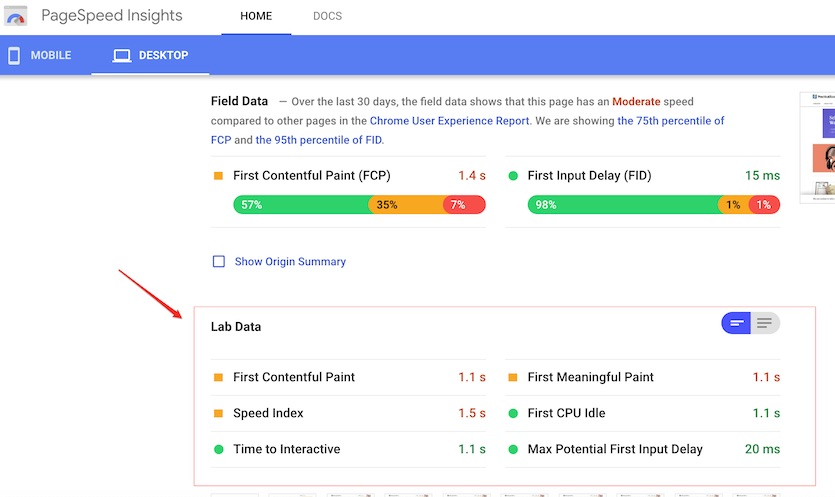 """For a compromise between speed and functionality, consider granular """"Lab Data"""" speed metrics in PageSpeed Insights."""