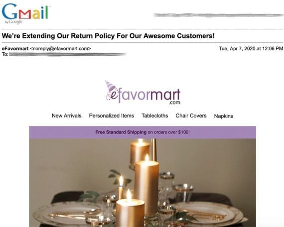 Efavormart.com backdated the return policy to orders placed since January 1, 2020. It extended refunds from 30 to 60 days and store credit from 60 to 180 days.