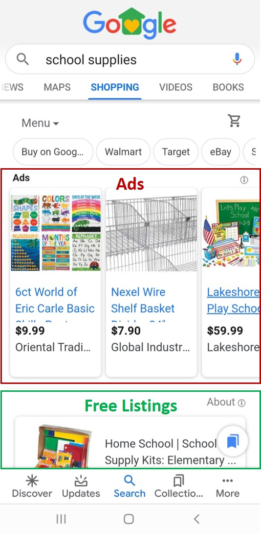 Google's new free shopping listings appear below the ads in the shopping tab.