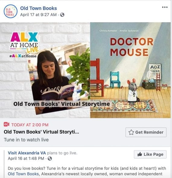 Old Town Books Facebook post hyping a virtual storytelling event.