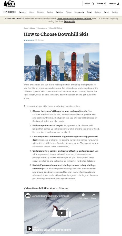 REI's pillar page on choosing downhill skis contains a variety of content and design elements to keep readers engaged.
