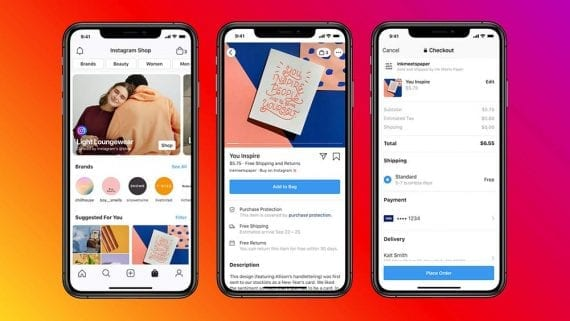 Facebook and Instagram Shops will give small businesses a new ecommerce channel. <em>Source: Facebook.</em>