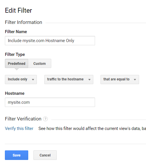 """Include"" filters allow the reporting only from specific hostnames, geographic locations, campaigns, and other traffic."