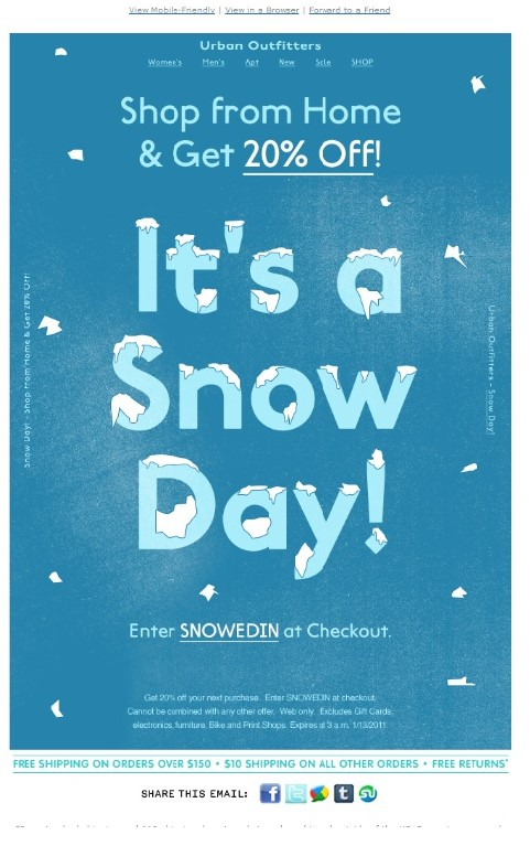The recipient's local weather can affect email performance. This example from Urban Outfitters offers a special coupon code for snow days.