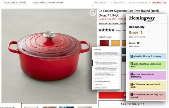 Williams-Sonoma website for a Dutch oven