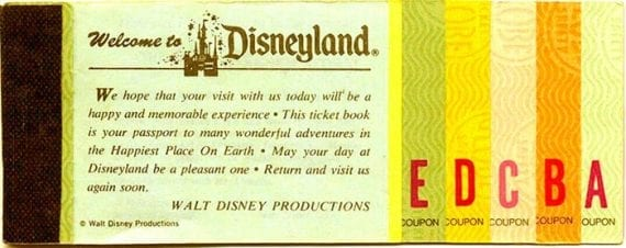 Disneyland opened in July 1955, issuing tickets such as this one to customers.
