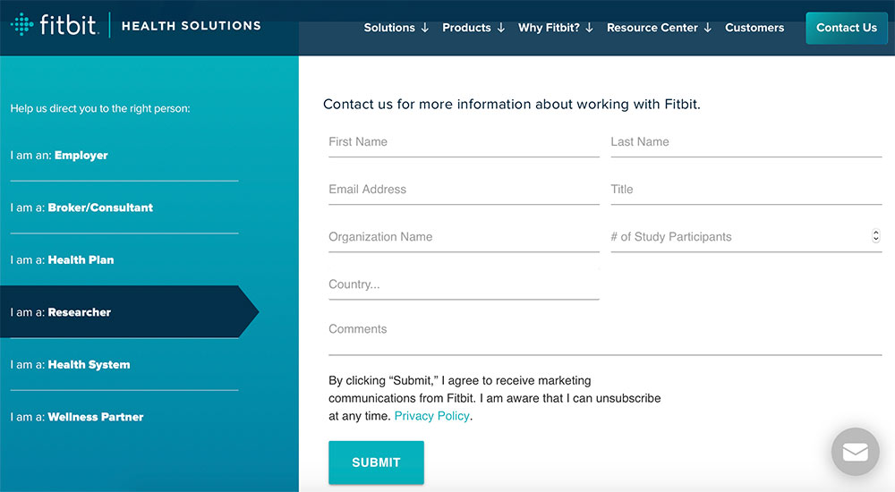 Contact form screenshot at Fitbit's Health Site