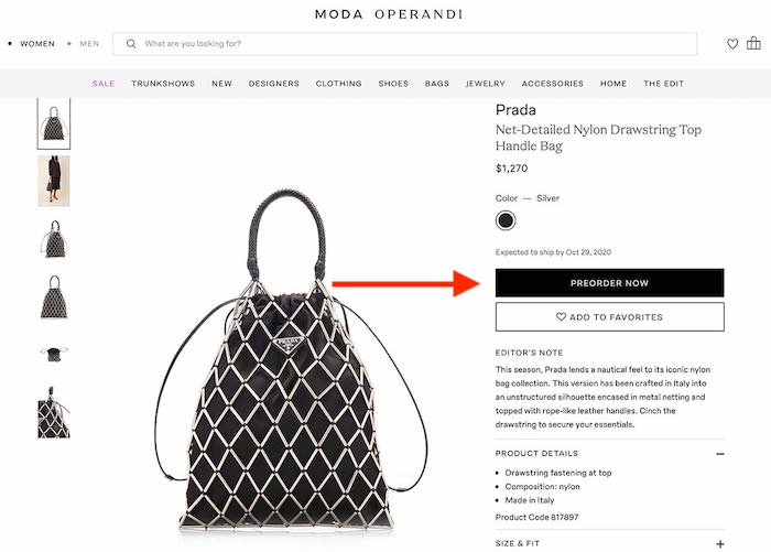Black Prada purse product page with $1,200 price tag.