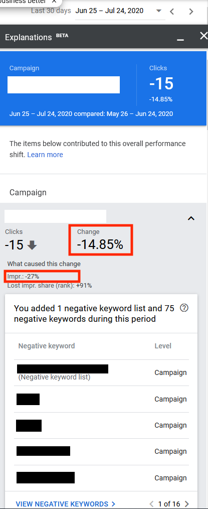 Clicking on the View Explanations link produces a pop-up that identifies the campaign, the time frames, and the metric, such as clicks. In this example, adding the negative keywords led to 27 percent fewer impressions and 14.85 percent fewer clicks.