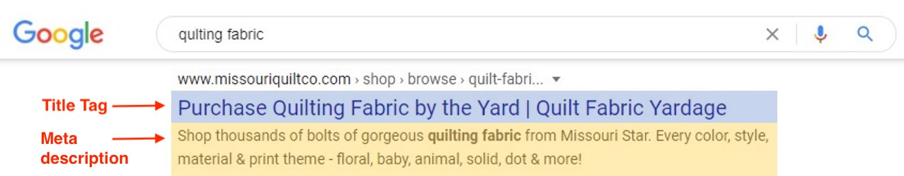 The title tag often appears as the blue text link in your search result listing. This example listing also includes the meta description.