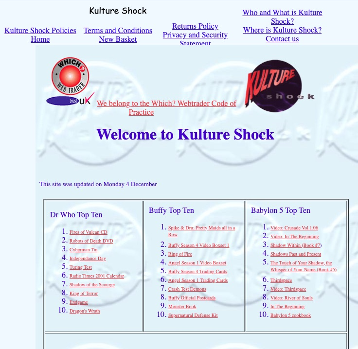 The author's ecommerce site in December 2000. Source: Wayback Machine.