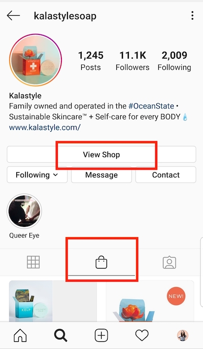 "Create at least one shop post to activate the ""Shop"" tab on your business profile."