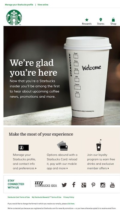 "Welcome email from Starbucks to new ""insider"" members."