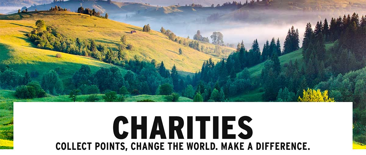 Image of trees and fields, accompanied by text saying you can pick a charity to support.