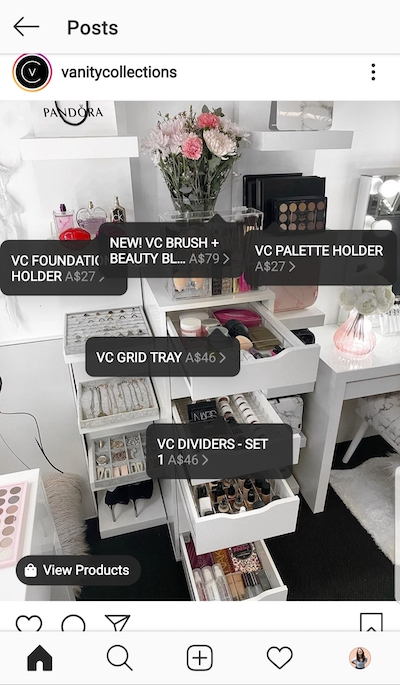 Vanity Collections tagged five items for sale.
